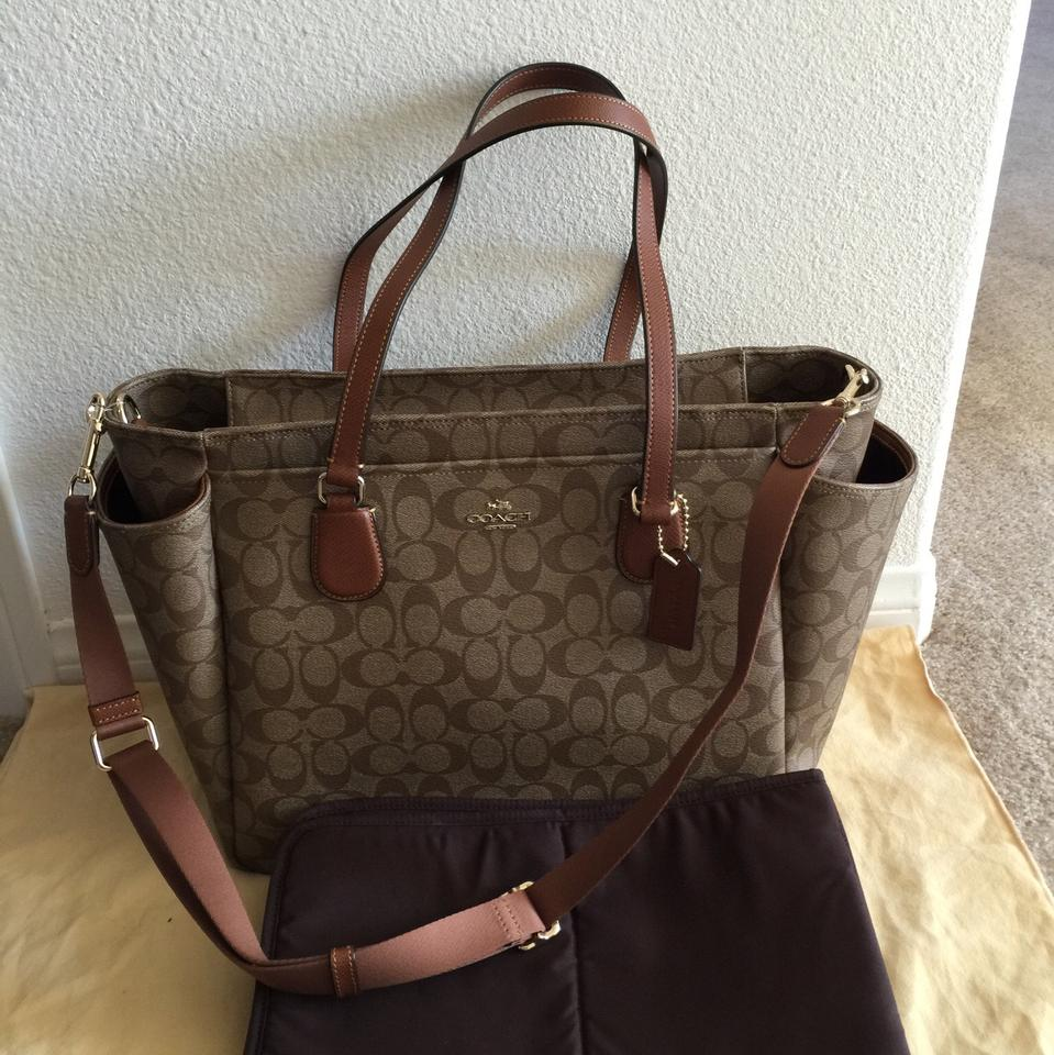 Coach Signature Multi Function Tote F35414 Brown Coated