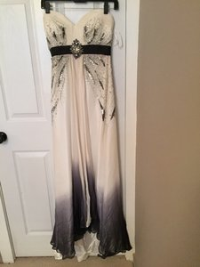 Evenings By Allure Black/White Black/white Ombre Chiffon Evening Dress Dress