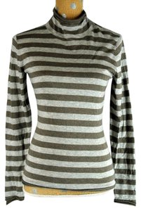 Lafayette 148 New York Cowl Neck Long Sleeve Striped Top Gray
