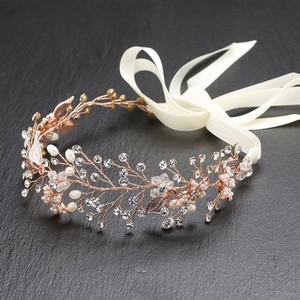 Hand Painted Rose Gold & Silver Leaves Bridal Headband