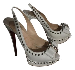Christian Louboutin Studded Leather Heels WHITE Pumps