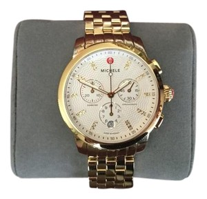 Michele New Michele Uptown Gold Diamond Dial Watch 39mm