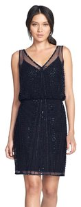Adrianna Papell V-neck Beaded Sleeveless Dress