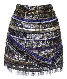 Parker Beaded Sequin Mini Boho Mini Skirt Multi