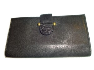 Fossil FOSSIL ~ Fabulous Black Leather Vintage Bifold Checkbook Wallet