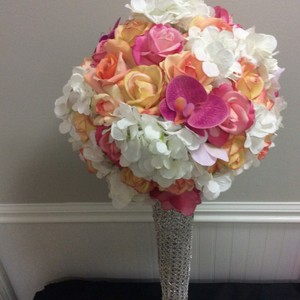 Fuschia Coral Peach 4 Real Touch Flower Ball Centerpiece