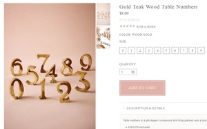 Table Numbers- Gold Teak Wood Bhldn