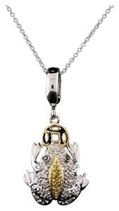 SALE - Estate Diamond Pendant Necklace 18KT Two-Tone Gold 0.45 ctw Diamond Frog Pendant With Chain