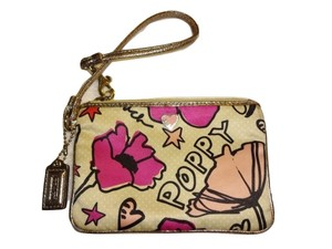 Coach Poppy Collection Satin Floral Print Leather Trim Wristlet in Multicolor