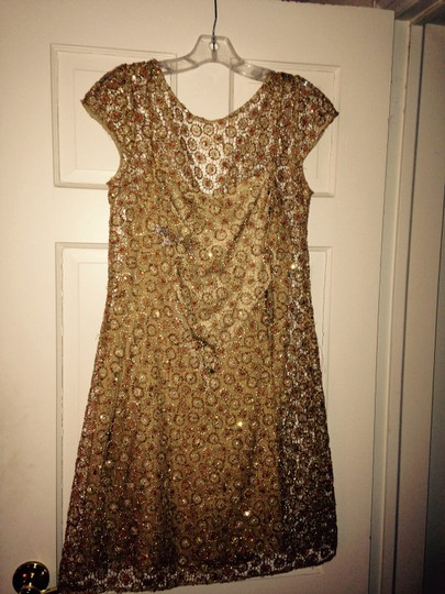 Kay Unger Gold A Sequenced Sheath with Satin Slip Formal Bridesmaid/Mob Dress Size 10 (M)