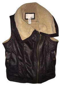 Bar III Fur Leather Faux Fur Faux Leather Vest