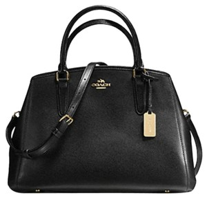 Coach Gold Hardware Leather Crossgrain Leather Two Way Crossbody Satchel in Black
