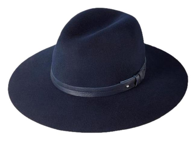 Item - Navy Blue Wool Wide-brim Fedora Size Large Hat