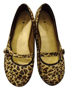 No Boundaries Leopard Print Satin Size 9 Brown Tan Black Flats