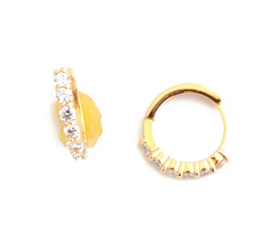 Other 18KT Solid Gold Filled Round CZ Clear Stone Earrings
