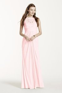 David's Bridal Petal Sleeveless Long Mesh Dress With Corded Lace Dress
