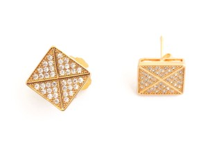 Other 18KT Gold Filled Iced Out CZ Square Micro Pave Stud Earrings