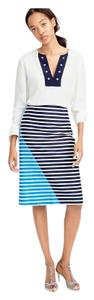 J.Crew Striped Color-blocking A-line Skirt Blue, black, white