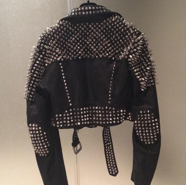 Burberry Brit Black with silver spikes Leather Jacket Image 2