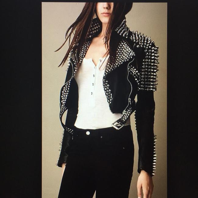 Burberry Brit Black with silver spikes Leather Jacket Image 6