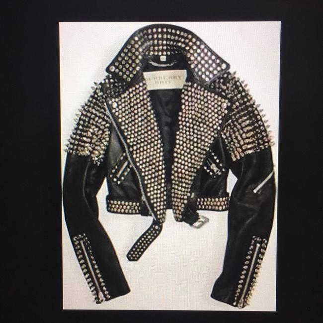 Burberry Brit Black with silver spikes Leather Jacket Image 8
