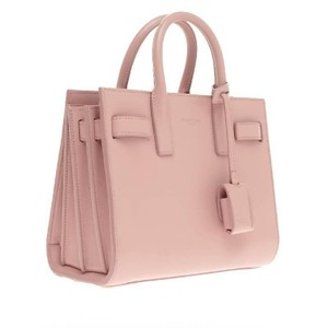 Saint Laurent Leather Ysl Nano Sac De Jour Pink Satchel in Pale Pink