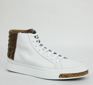 e46f63617d9 Gucci White 9066 Men s Leather High-top Sneakers Python Trim 375084 10g Us  10.5