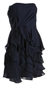 Ali Ro Ruffle Cocktail Strapless Silk Dress