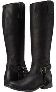 Frye Leather Knee High Buckle Black Boots