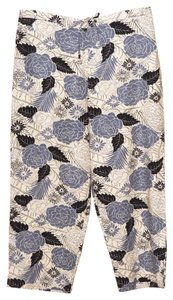 Sag Harbor Linen Capris Blue Black White Floral