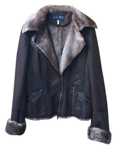 Armani Jeans Faux Leather Faux Fur Leather Jacket