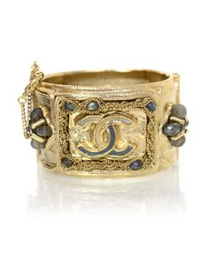 Chanel Chanel Goldtone and Jeweled CC Cuff