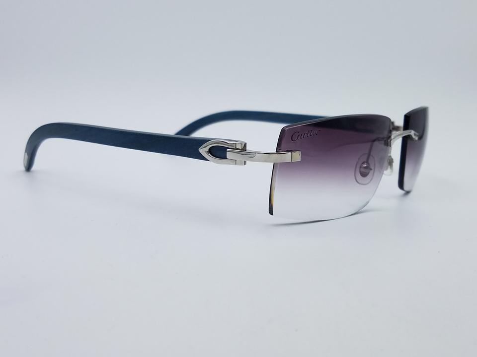 Cartier Silver Gray Blue Norway Rimless Wood W/ Purple Gradient Lens ...