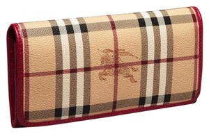 Burberry Burberry Penrose Continental Wallet Check and Red