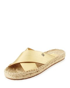 Tory Burch Bima Metallic Gold and Tan Sandals