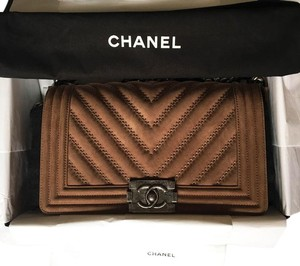 Chanel Medium Le Boy Suede Shoulder Bag
