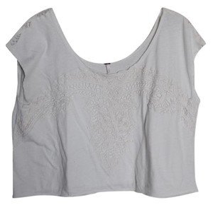 Free People Lace Cropped Off Tee T Shirt Cream