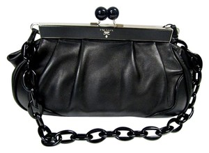 Prada Leather Plastic Chain Kiss Lock Shoulder Bag