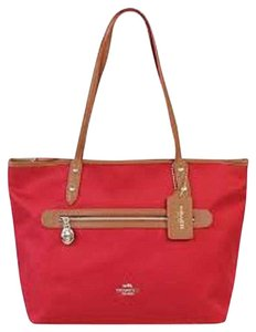 Coach Red Canvas Leather Tote in Red, Brown