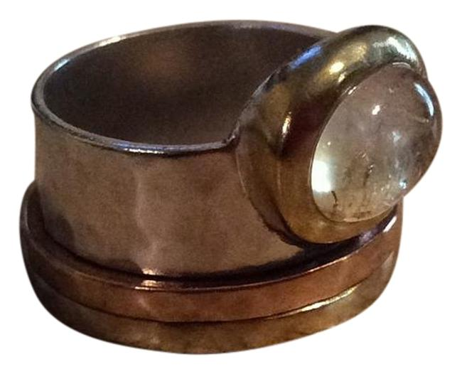 Item - Brass Citrine Copper and Sterling Silver New Metallic Mix Ring
