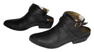 Twelfth St. by Cynthia Vincent Mule Design Wrap Around Strap Reptile Embossed Stylish Designer Line Black Boots