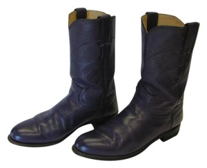 Justin Size 8.00 M Leather Purple Boots