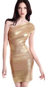 Hervé Leger Gold Metallic Mini Bandage Dress