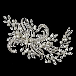 Elegance By Carbonneau Stunning Rhinestone And Pearl Bridal Hair Clip