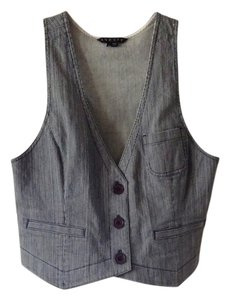Theory Denim Vest Stripes Top Blue and White