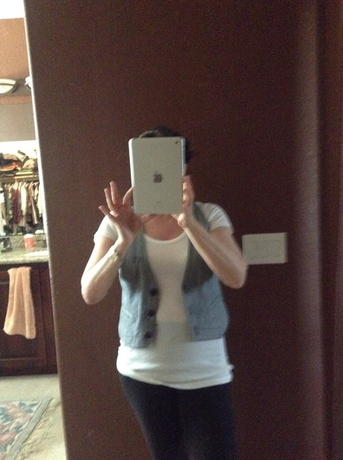 Theory Denim Vest Stripes Top Blue and White Image 3