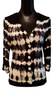 ecru Tie Dye Button Up Top Black and Off White