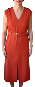 Tibi Midi V-neck Belted Dress