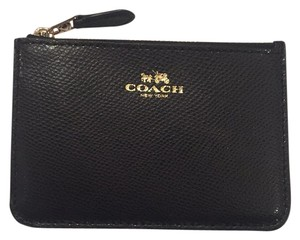 Coach Nwt Coach Black Leather Cash Coin Purse Key Pouch Wallet Bag
