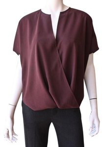 Vince Draped Wrap Top Burgundy